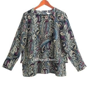 J. Jill Carmine Paisley Layered Long Sleeve Top
